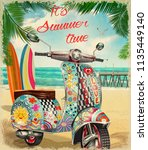 summer poster with hippie... | Shutterstock .eps vector #1135449140