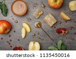 flat lay composition with jar... | Shutterstock . vector #1135450016