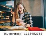 wonder amazed hipster girl... | Shutterstock . vector #1135452353