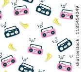 recorder pattern. retro style... | Shutterstock .eps vector #1135454249
