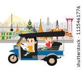 taxi thailand  tuk tuk  and... | Shutterstock .eps vector #1135461776