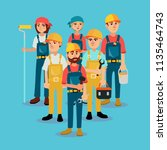 the brigade of builders in... | Shutterstock .eps vector #1135464743
