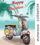 happy vacation poster with... | Shutterstock .eps vector #1135469159