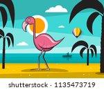 flamingo bird on tropical... | Shutterstock .eps vector #1135473719