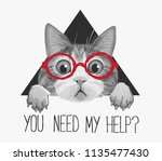 Stock vector typography slogan with cat in glasses illustration 1135477430