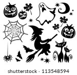 Halloween Symbols Set Isolated...