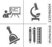 vector school education icons ... | Shutterstock .eps vector #1135486004