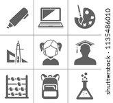 vector school education icons ... | Shutterstock .eps vector #1135486010