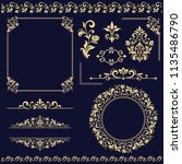 vintage set. floral elements... | Shutterstock . vector #1135486790