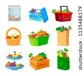 vegetables and fruits different ... | Shutterstock .eps vector #1135488179