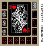 black playing cards of hearts... | Shutterstock .eps vector #1135510553