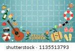 summer background.hello summer... | Shutterstock .eps vector #1135513793