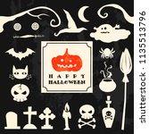 happy halloween objects set... | Shutterstock .eps vector #1135513796