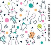 seamless pattern with bunny... | Shutterstock .eps vector #1135520546