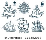 sailing ships emblems iconset | Shutterstock .eps vector #113552089
