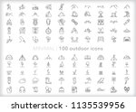 set of 100 minimal outdoor... | Shutterstock .eps vector #1135539956