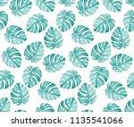 monstera blue pattern | Shutterstock .eps vector #1135541066
