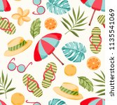summer elements pattern | Shutterstock .eps vector #1135541069