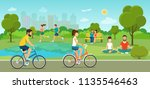 boys and girls riding a bicycle ... | Shutterstock .eps vector #1135546463