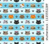 cute vector seamless pattern... | Shutterstock .eps vector #1135552289