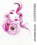 beautiful woman. fashion... | Shutterstock . vector #1135552583