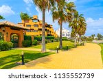holiday apartments on sea coast ... | Shutterstock . vector #1135552739