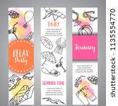 summer hand drawn banner. beach ... | Shutterstock .eps vector #1135554770
