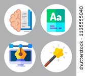 simple 4 icon set of book... | Shutterstock .eps vector #1135555040