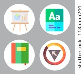 simple 4 icon set of book... | Shutterstock .eps vector #1135555244