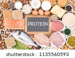 food rich in protein | Shutterstock . vector #1135560593