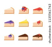 cheesecake slices set. isolated ... | Shutterstock .eps vector #1135561763