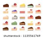 different cake slices set....   Shutterstock .eps vector #1135561769