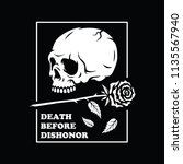 death before dishonor skull... | Shutterstock .eps vector #1135567940