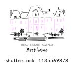 sketch of city house  detached  ... | Shutterstock .eps vector #1135569878