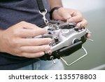 remote control for quadrocopter ... | Shutterstock . vector #1135578803