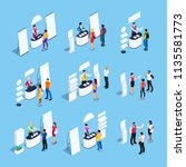 isometric set of promotional... | Shutterstock .eps vector #1135581773