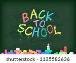 back to school poster. green... | Shutterstock .eps vector #1135583636