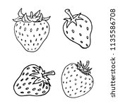 handdrawn strawberry set doodle ... | Shutterstock .eps vector #1135586708