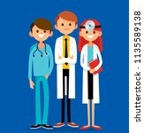 team of hospital workers stand... | Shutterstock .eps vector #1135589138