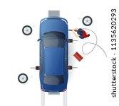 car service. mechanic changing... | Shutterstock .eps vector #1135620293