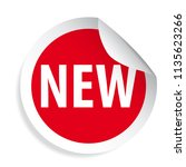 new label red round sticker... | Shutterstock .eps vector #1135623266