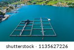 salmon fish farm in fjord. olen ... | Shutterstock . vector #1135627226