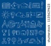 school supplies sketch... | Shutterstock .eps vector #1135629623