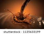 splashing chocolate liquid on... | Shutterstock . vector #1135633199