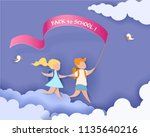 happy children boy and girl run ... | Shutterstock .eps vector #1135640216