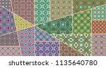 vector patchwork quilt pattern. ...   Shutterstock .eps vector #1135640780