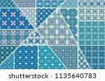 vector patchwork quilt pattern. ... | Shutterstock .eps vector #1135640783