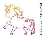 degraded line cute unircon with ... | Shutterstock .eps vector #1135642970