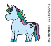 color cute unicorn with stars... | Shutterstock .eps vector #1135643048