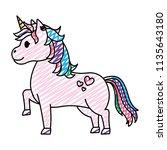 doodle cute unircorn with... | Shutterstock .eps vector #1135643180